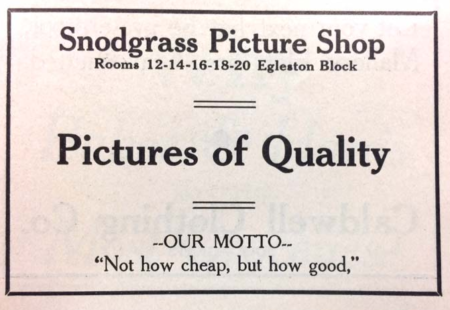Advertisement in the Caldwell High School yearbook, 1911 (photo courtesy Robert E. Smylie Archives, College of Idaho)